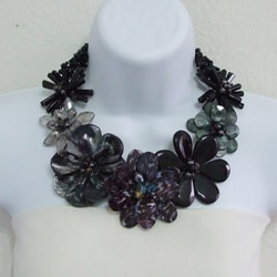 Black Agate, Smokey Quartz and Mother of Pearl Necklace (Thailand)