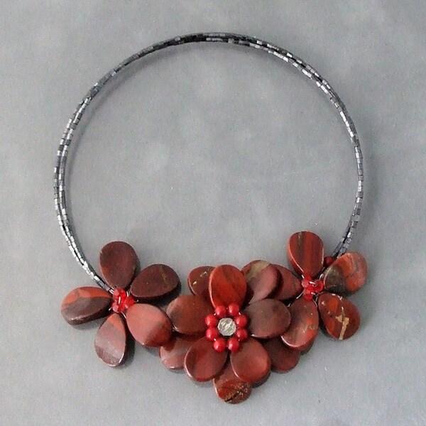 Triple Flower Jasper Choker Necklace (Thailand)