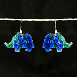 Copper Enamel Elephant Earrings (Chile)
