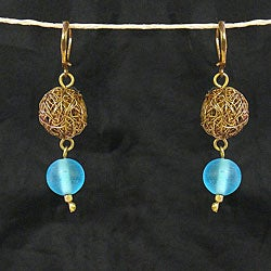 Wire Mesh Blue Dangle Earrings (India)