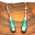 Silver Turquoise and Abalone Tear Drop Earrings