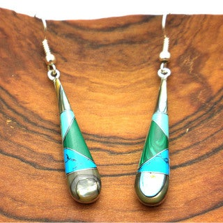 Silver Turquoise and Abalone Tear Drop Earrings (Mexico)