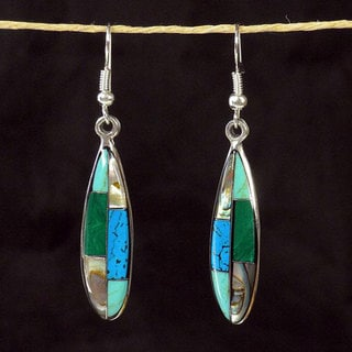 Silver Turquoise and Abalone Ellipse Earrings (Mexico)