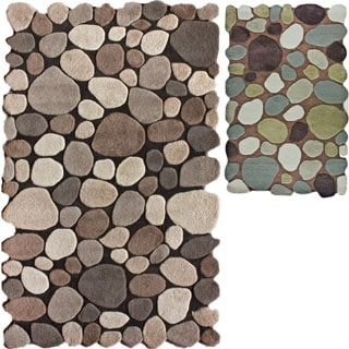 nuLOOM Hand-carved Stones and Pebbles Wool Rug (7'6 x 9'6)