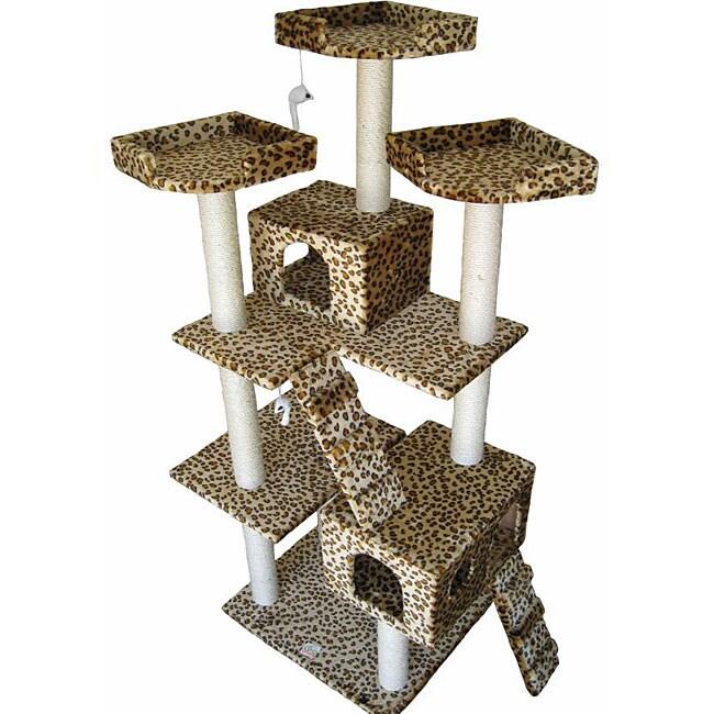 Condo House Scratcher Leopard Print 72-inch Cat Tree Furniture