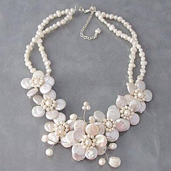 Pearl Cluster Sakura Flower Necklace (Thailand)