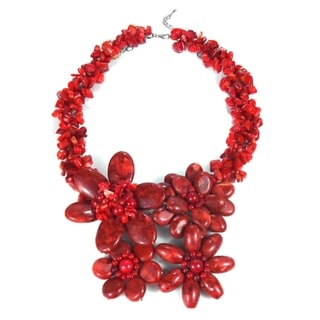Sterling Silver Reconstituted Red Coral Flower Garland Necklace (Thailand)