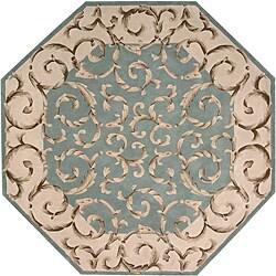 Nourison Hand-tufted Versaille Palace Aqua Rug (6 x 6) Octagon