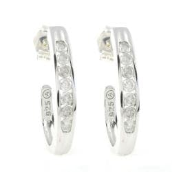 Beverly Hills Charm Silver 1/2ct TDW Diamond J-hoop Earrings (H-I, I1-I2)