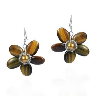 Sterling Silver Tiger's Eye and Pearl Flower Earrings (Thailand)