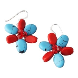 Sterling Silver Turquoise and Coral Flower Earrings (Thailand)