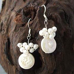 Sterling Silver White Pearl Disc Cluster Earrings (Thailand)