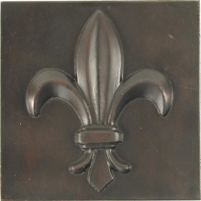 Fleur De Lis Dark Bronze 4-inch Accent Tiles (Set of 4)