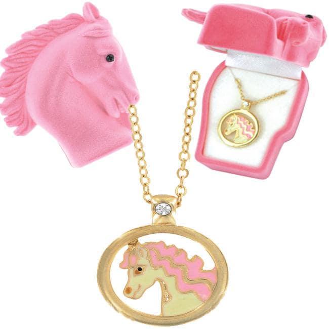 Goldtone and Enamel European Crystal Horse Necklace