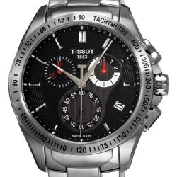 Tissot Men's 'Veloci-T' Stainless Steel Black Face Chronograph Watch