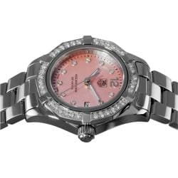 Tag Heuer Womens Aquaracer Pink Mother of Pearl Diamond Watch