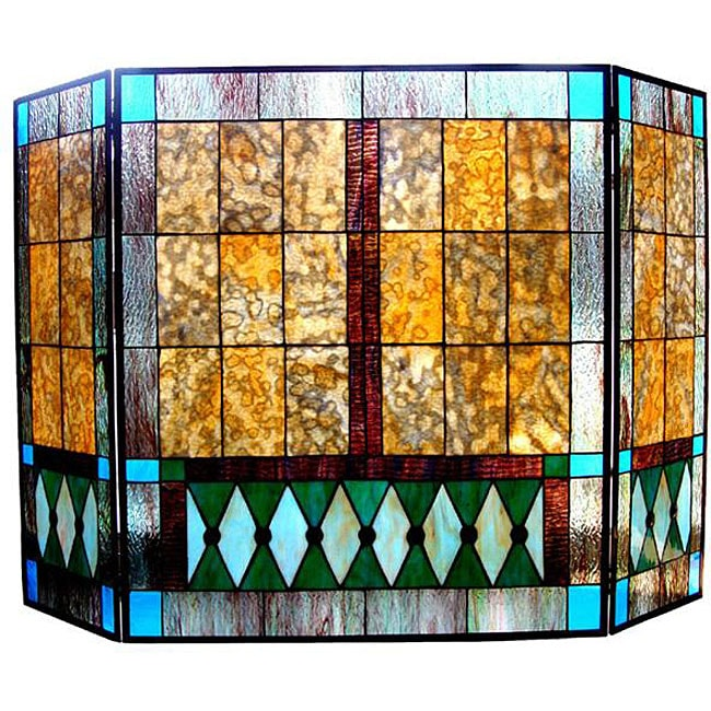 Mission Design Stained Glass Fireplace Screen 12954299