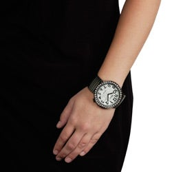 Geneva Platinum Women's Round Face Stretch Watch