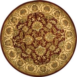 Safavieh Handmade Heritage Kashan Red/ Ivory Wool Rug (6' Round)