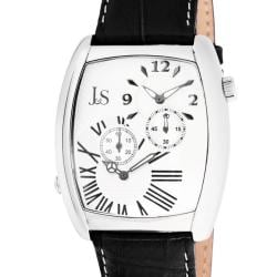Joshua & Sons Men's Quartz Stainless-Steel Dual-Time Leather Strap Watch