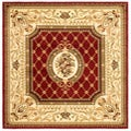 Lyndhurst Collection Traditional Red/ Ivory Rug (6' Square)