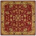 Safavieh Handmade Hereditary Burgundy/ Gold Wool Rug (6' Square)