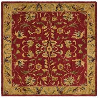 Safavieh Handmade Hereditary Burgundy/ Gold Wool Rug (8' Square)