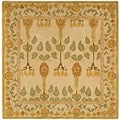 Handmade Ancestral Tree Ivory/ Green Wool Rug (6' Square)