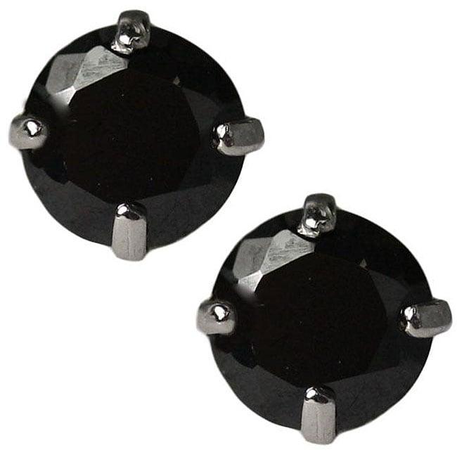 Gioelli 14k White Gold Black Cubic Zirconia Stud Earrings