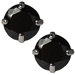 14k White Gold Black Cubic Zirconia Stud Earrings