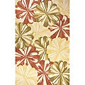 Hand-loomed Gold Floral Wool Rug (5' x 8')