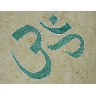 Hand-carved Marble Tile 'OM' Yoga and Meditation Inspirational Art