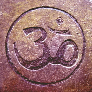 Hand-carved Stone Tile 'Om Circle' Yoga and Meditation Inspirational Art