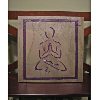 Yoga and Meditation Art-Inspirational Healing Stone 'Namaste' Artisan Tile