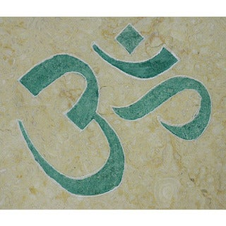 Yoga and Meditation Art 'Om' Inspirational Healing Stone Artisan Marble Tile