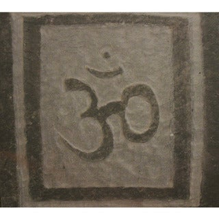 Hand-carved Stone Tile 3-D 'Om' Symbol Yoga and Meditation Inspirational Art Wall Hanging
