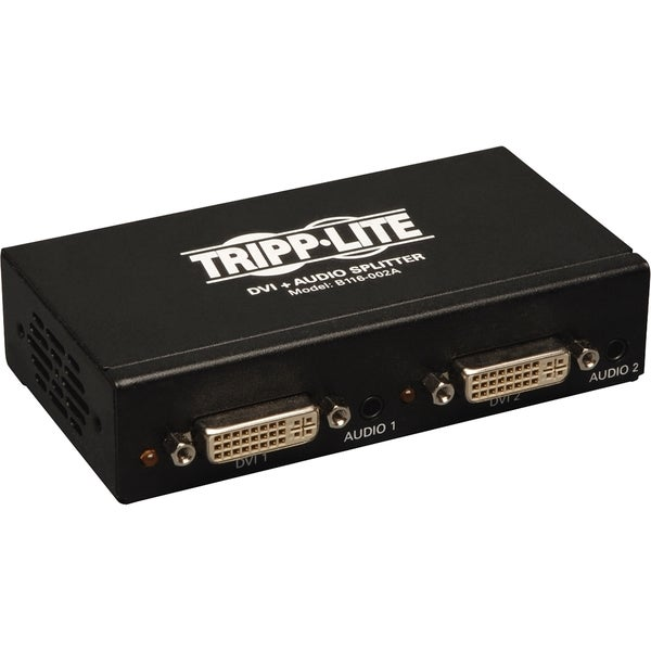 Tripp Lite 2-Port DVI Splitter with Audio and Signal Booster, Single