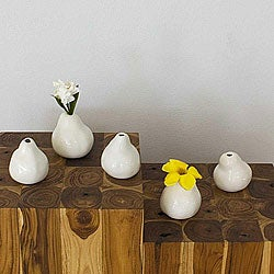 Set of 5 Ceramic White Pear-shaped Vases , Handmade in Thailand
