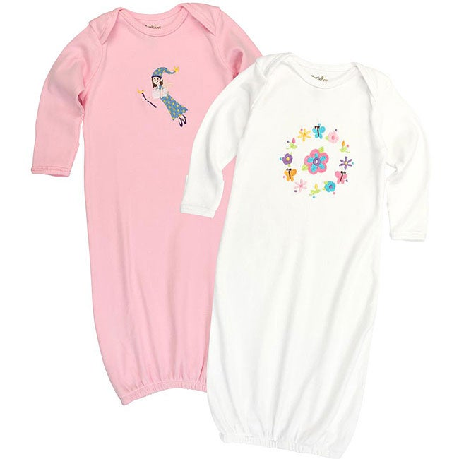 Funkoos Organic Baby Girl Sleep Gown Set (Pack of 2)