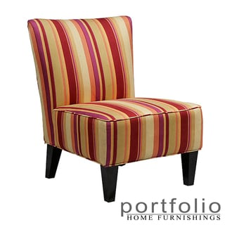 Portfolio Hali Striped Wine Armless Designer Accent Chair