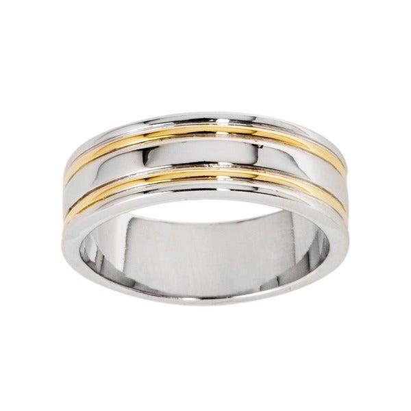NEXTE Jewelry 14k Gold Overlay Railed Women's Band (7 mm)
