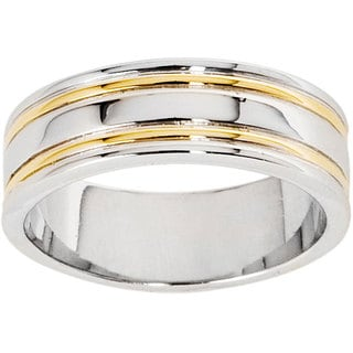 NEXTE Jewelry 14k Gold Overlay Men's Double Rail Band (7 mm)