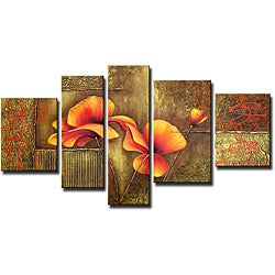 'Orange Flowers' Hand-painted Canvas Art Set