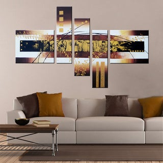 'Hand-painted Abstract 101' Gallery-wrapped Canvas Art Set
