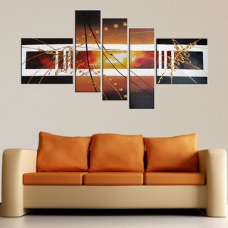 'Hand-painted Abstract 104' Gallery-wrapped Canvas Art Set