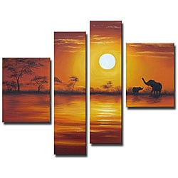 'African Sunset' Oil on Canvas Art Set