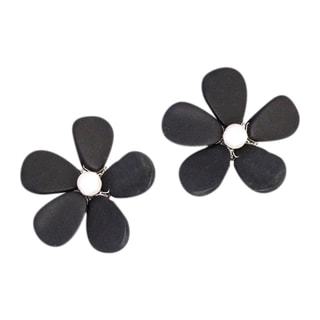 Rhodium-plated Adorable Daisy Onyx/ Pearl Clip-on Earrings (Thailand)