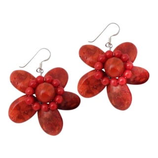 Sterling Silver Bold Red Coral Flower Earrings (Thailand)
