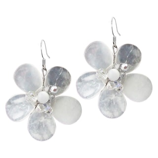 Sterling Silver Clear Quartz Flower Earrings (Thailand)