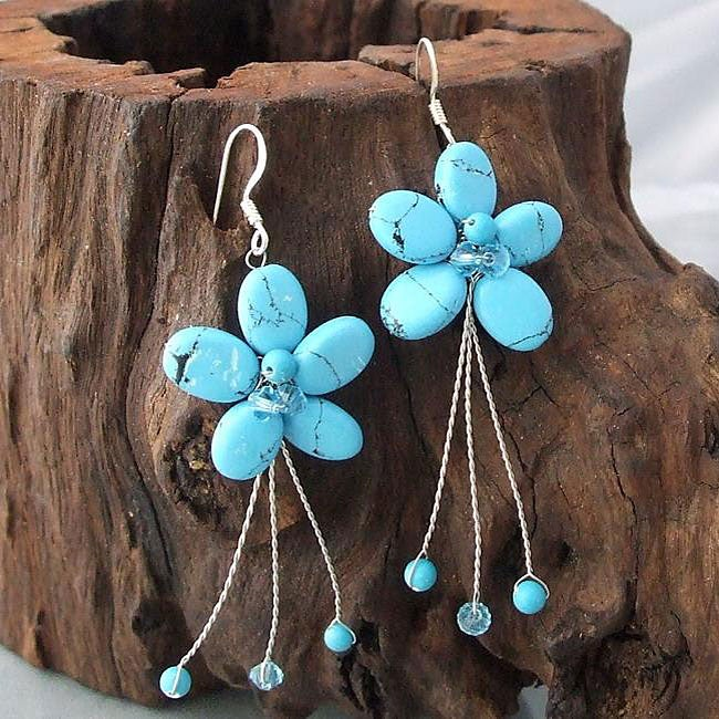 Sterling Silver Reconstituted Turquoise Flower Earrings (Thailand)
